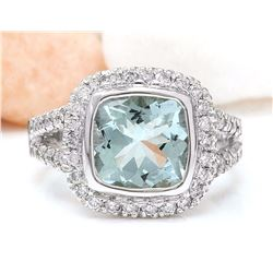 5.60 CTW Natural Aquamarine 18K Solid White Gold Diamond Ring
