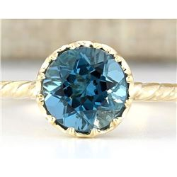 1.50 CTW Natural London Blue Topaz And Diamond Ring In 18K Yellow Gold