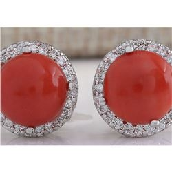 5.89 CTW Natural Red Coral And Diamond Earrings 18K Solid White Gold