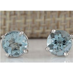1.60 CTW Natural Aquamarine Earrings 18K Solid White Gold