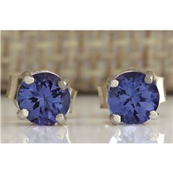 1.00 CTW Natural Tanzanite Earrings In 14K Solid White Gold