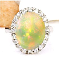 7.50 CTW Natural Opal 18K Solid White Gold Diamond Ring