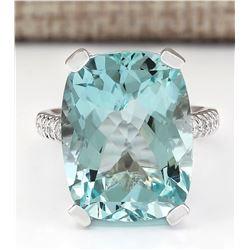 14.33 CTW Natural Aquamarine And Diamond Ring In 18K White Gold