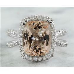 4.93 CTW Morganite 18K White Gold Diamond Ring
