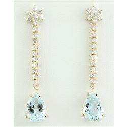 14.08 CTW Aquamarine 14K Yellow Gold Diamond Earrings