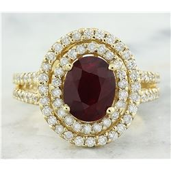 2.77 CTW Ruby 18K Yellow Gold Diamond Ring