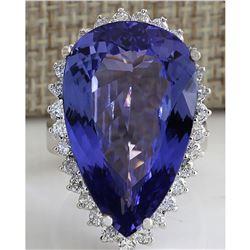 23.32 CTW Natural Tanzanite Diamond Ring 18K Solid White Gold