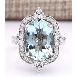 8.92 CTW Natural Aquamarine And Diamond Ring In 14k White Gold