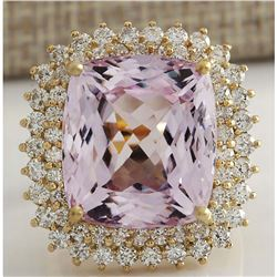 21.94 CTW Natural Kunzite And Diamond Ring 14K Solid Yellow Gold
