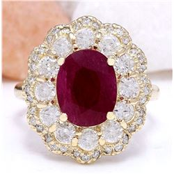 4.78 CTW Natural Ruby 14K Solid Yellow Gold Diamond Ring