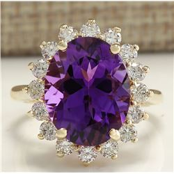 7.26 CTW Natural Amethyst And Diamond Ring In 18K Solid Yellow Gold