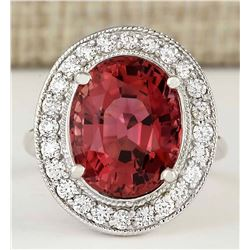 9.50 CTW Natural Pink Tourmaline And Diamond Ring 18K Solid White Gold