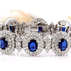 27.50 CTW Natural Sapphire 18K Solid White Gold Diamond Bracelet