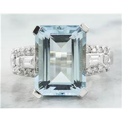 7.90 CTW Aquamarine 14K White Gold Diamond Ring