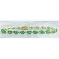11.20 CTW Emerald 14K Yellow Gold Diamond Bracelet
