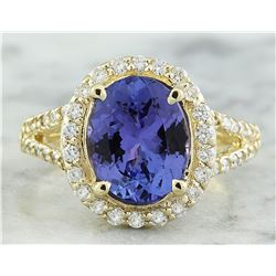 1.95 CTW Tanzanite 18K Yellow Gold Diamond Ring
