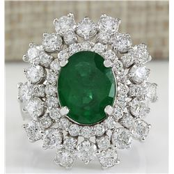 5.71 CTW Natural Colombian Emerald And Diamond Ring In 18K White Gold