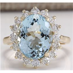 6.50 CTW Natural Aquamarine And Diamond Ring 18K Solid Yellow Gold
