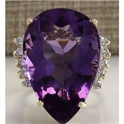 30.25 CTW Natural Amethyst And Diamond Ring In 14K Solid Yellow Gold