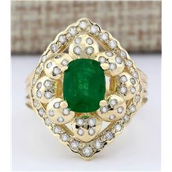 3.12 CTW Natural Emerald And Diamond Ring In 18K Yellow Gold