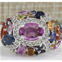 6.83 CTW Natural Sapphire And Diamond Ring In 14K White Gold