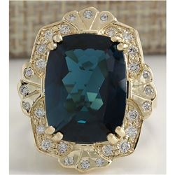11.39CTW Natural London Blue Topaz And Diamond Ring In18K Solid Yello Gold