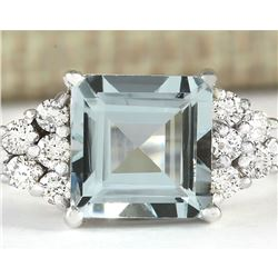 3.40 CTW Natural Aquamarine And Diamond Ring In 18K Solid White Gold