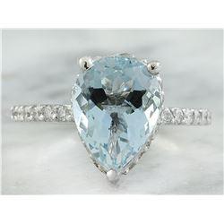 4.30 CTW Aquamarine 14K White Gold Diamond Ring