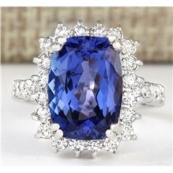 6.99 CTW Natural Blue Tanzanite And Diamond Ring 18K Solid White Gold