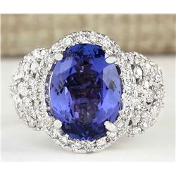 7.60 CTW Natural Blue Tanzanite And Diamond Ring 18K Solid White Gold