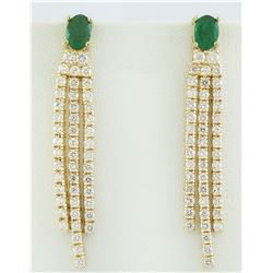 4.50 CTW Emerald 18K Yellow Gold Diamond Earrings