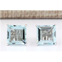 6.93 CTW Natural Aquamarine Earrings 18K Solid White Gold