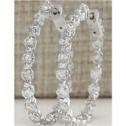 3.64 CTW Natural Diamond Hoop Earrings 18K Solid White Gold