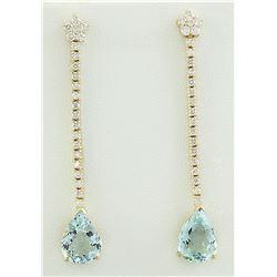 7.17 CTW Aquamarine 14K Yellow Gold Diamond earrings