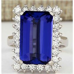 9.05 CTW Natural Blue Tanzanite And Diamond Ring 18K Solid White Gold