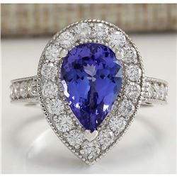 4.78 CTW Natural Blue Tanzanite And Diamond Ring 18K Solid White Gold