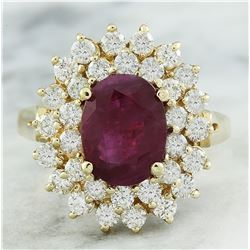 3.53 CTW Ruby 14K Yellow Gold Diamond Ring