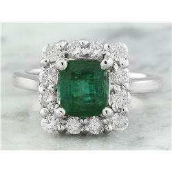 2.60 CTW Emerald 18K White Gold Diamond Ring