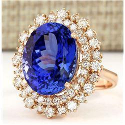 13.49 CTW Natural Tanzanite And Diamond Ring In 18K Rose Gold