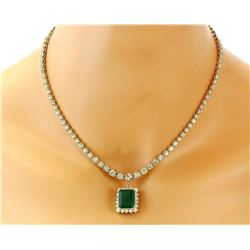 13.80 CTW Natural Emerald 14K Solid Yellow Gold Diamond Necklace