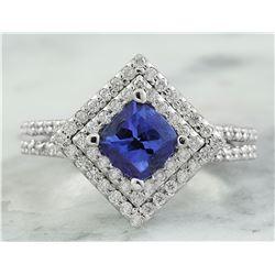 2.00 CTW Tanzanite 18K White Gold Diamond Ring