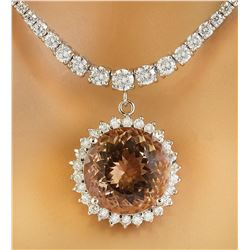 17.14 CTW Morganite 18K White Gold Diamond Necklace