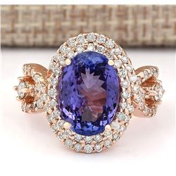 7.02 CTW Natural Blue Tanzanite And Diamond Ring In 18K Rose Gold