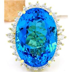 39.25 CTW Natural Topaz 14K Solid Yellow Gold Diamond Ring