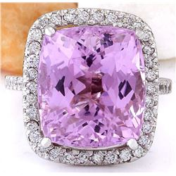 14.70 CTW Natural Kunzite 18K Solid White Gold Diamond Ring