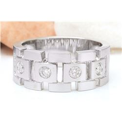 0.40 CTW Natural Diamond 18K Solid White Gold Ring