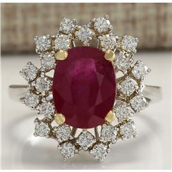 3.91 CTW Natural African Ruby And Diamond Ring 18K Solid White Gold