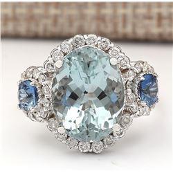 7.41 CTW Natural Aquamarine, Sapphire Diamond Ring In 14k Solid White Gold