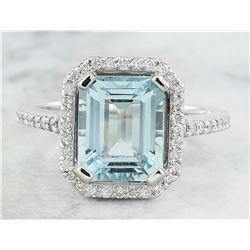 3.53 CTW Aquamarine 14K White Gold Diamond Ring