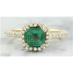 1.45 CTW Emerald 18K Yellow Gold Diamond Ring